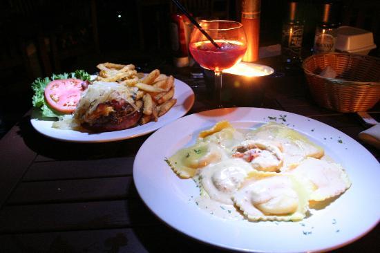 Scampi: Lobster Ravioli and a Burger