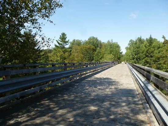 L petit Train du Nord Cycling Route: One of the numerous photogenic cycling bridges