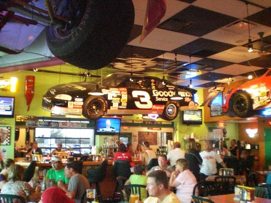 Quaker Steak Lube One Of The Several Race Cars Hanging From Ceiling In