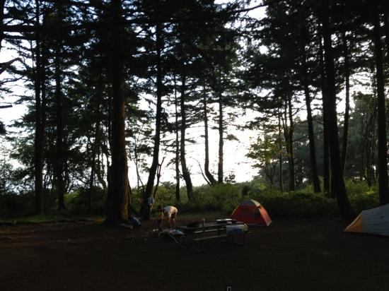 Brookings, OR: campsite as the sun sets