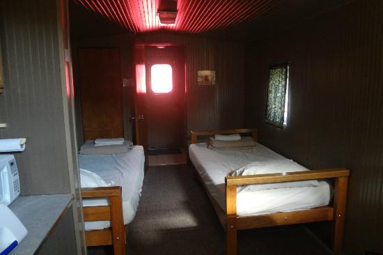 Wildlife Prairie Park: twin beds inside caboose #1