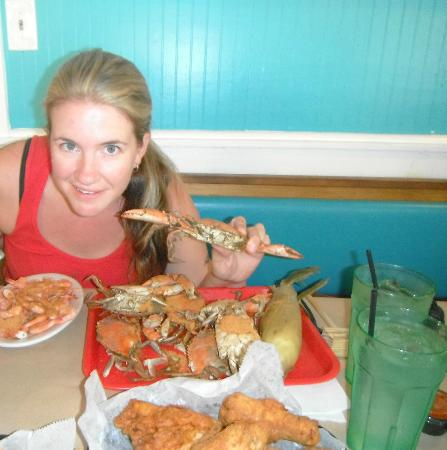 Waterman's Seafood Co: Me holding a crab up for show