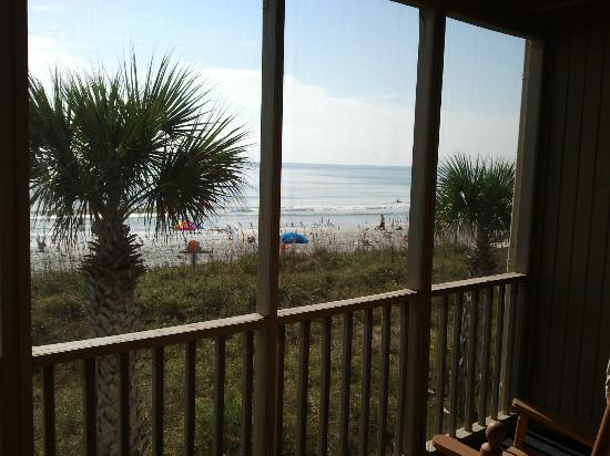 Oceanfront Litchfield Inn: beach view from screened porch 2nd floor dunes
