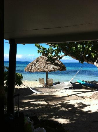 Castaway Island Fiji: view from beach front bure