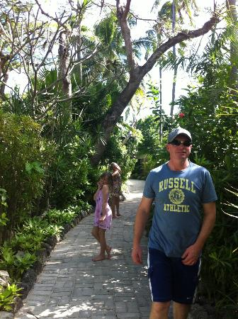 Castaway Island Fiji: walking thru the paths from the bures to the pool dining area