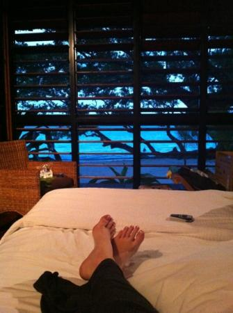 Relaxing on the bed looking out at the awesome view!