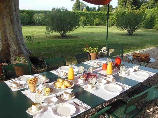 La Ferme de Gigognan : Outdoor breakfast