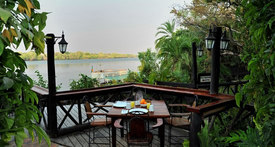 Victoria Falls Waterfront: View of the Zambezi River from our deck