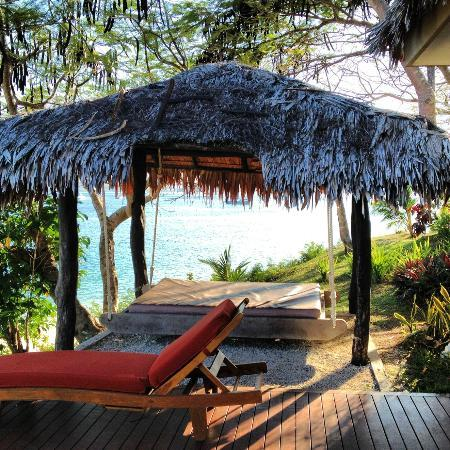 "The Havannah, Vanuatu : My favourite - the ""swingy daybed"" on our deck! Pretty much spent the whole 5 days there!"