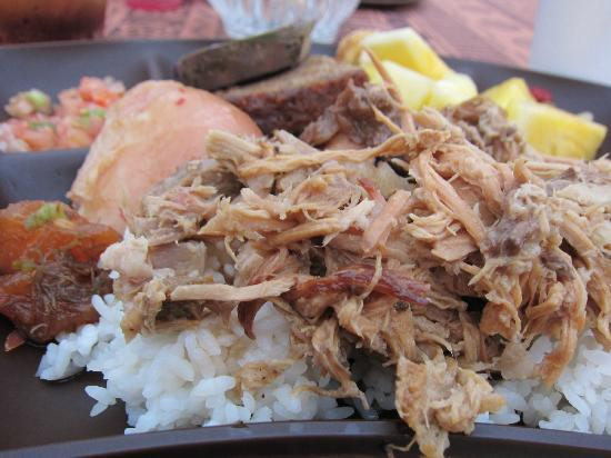 Island Breeze Luau: Kailua pork over rice, bread, sweet potato