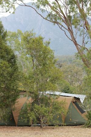 Mt Barney Lodge Country Retreat: Our campsite with Mt Barney