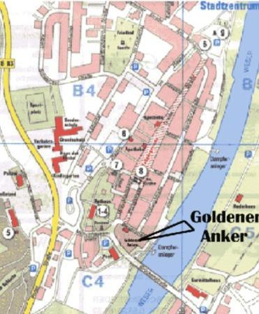 Hotel Goldener Anker : Lage in der Altstadt und Weserufer