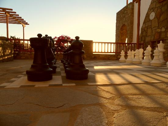 Mykonos Grand Hotel & Resort: View from life size chess board