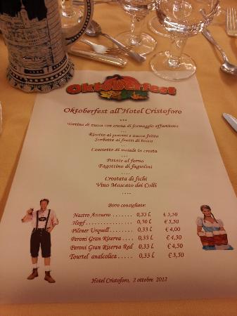 Hotel Abano Terme Cristoforo: Menù OktoberFest