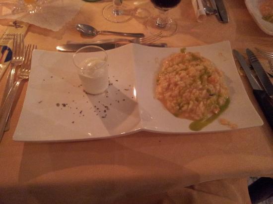 Hotel Abano Terme Cristoforo: Risotto Gamberetti e sorbetto