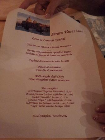 Hotel Abano Terme Cristoforo: Menù
