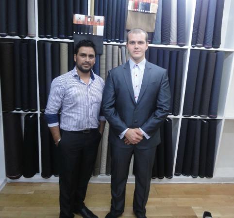 Dptailors: Grey light pinstriped suit