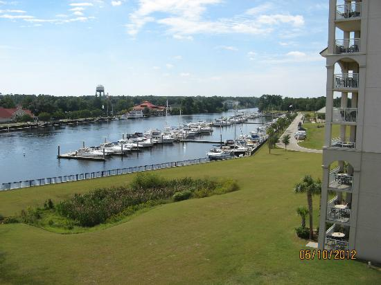 Barefoot Resort Yacht Club: The marina as viewed from Complex 3 5th floor. The large pool is just right of the marina