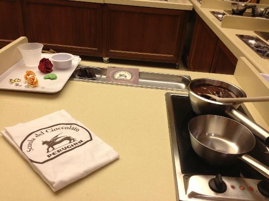 Perugina Chocolate Factory: Il banco da lavoro