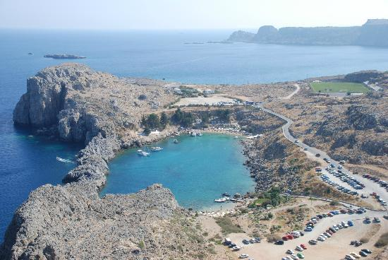 Agios Pavlos Beach (Saint Paul): Looking down on St.Pauls Bay from Acropolis