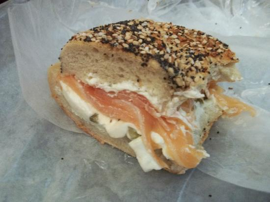 Ess-a-Bagel : Everything bagel with lox and cream cheese!
