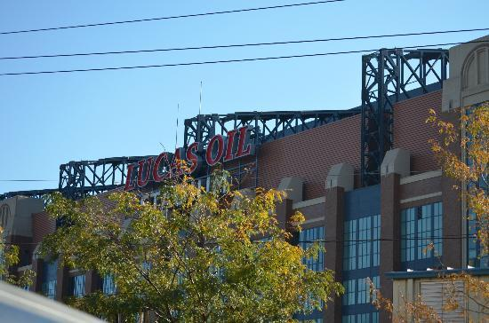 Staybridge Suites Indianapolis - City Centre: Lucas Oil Stadium from the parking lot.