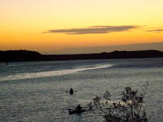 The Jenner Inn: sunset kayakers below