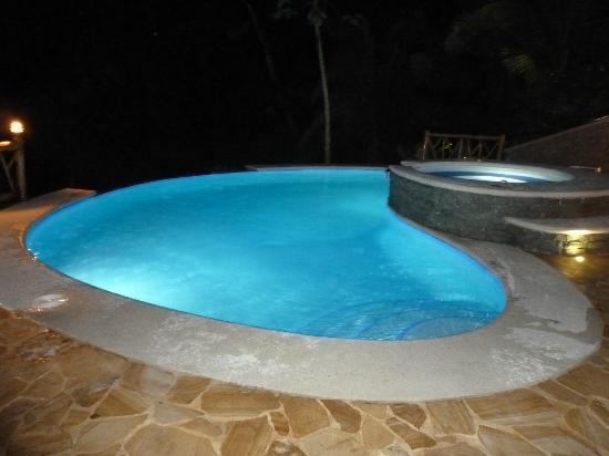 Villa Kristina Apartments: Beleuchteter Pool bei Nacht