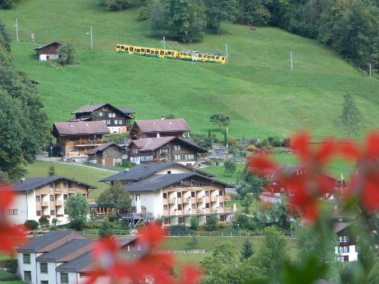 Hotel Silberhorn: View from our balcony - train going up to Wengen