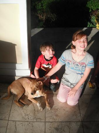 Iberostar Ensenachos: My children with Rosie, the hotel's dog (JLane)