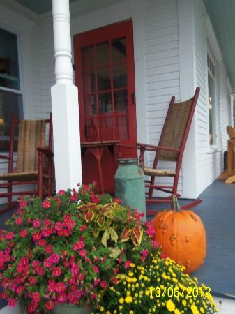 Halladay's Harvest Barn Inn: Part of the front porch overlooking the river