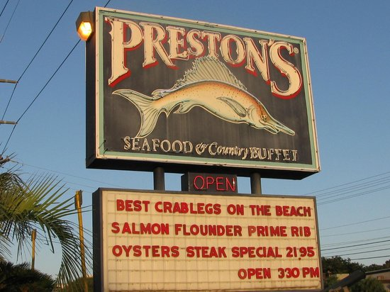 Preston S Family Seafood Restaurant Sign