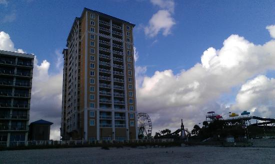 Westgate Myrtle Beach Oceanfront Resort: View of the North tower from the beach, left is the old hotel