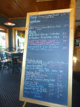Fiddle River Restaurant : The Blackboard menu  of specials the waitress brings to you to help you choose