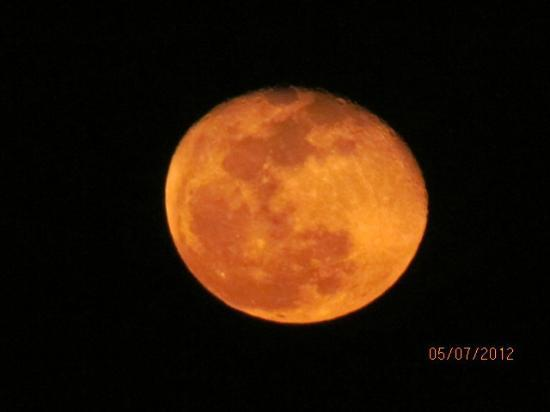 Super moon photo'd from our deck at caye casa