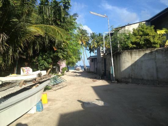 Stingray Beach Inn : On the way to the Maafushi beach from the hotel