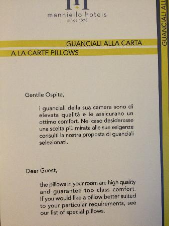 Grand Hotel Ambasciatori: Pillow menu! Great sleep