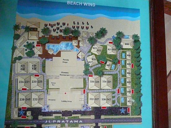 Novotel Bali Benoa: plan de l'hotel coté plage