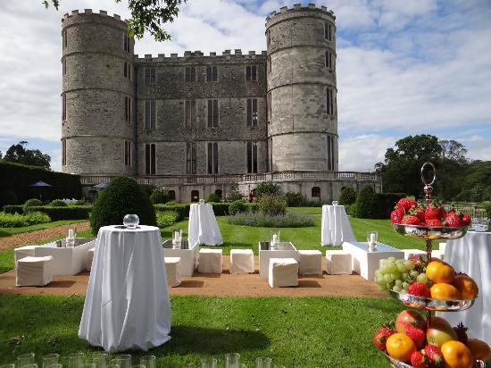 Lulworth Castle & Park: Drinks reception in the Rose Garden at Lulworth Castle