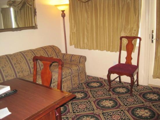 Marquis De Lafayette Hotel: The living room with pull out couch