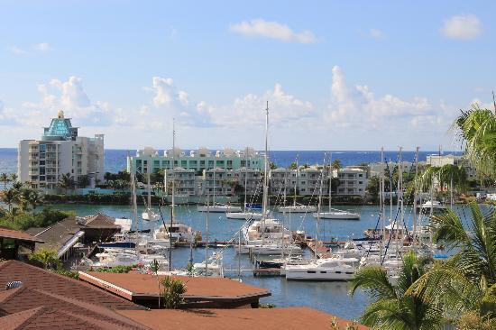 Oyster Bay Beach Resort: Marina toward Resort from hillside 