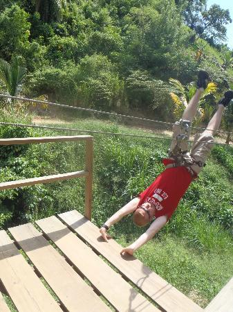 Jungle Top Zipline Adventure: Doing the handstand I learned!