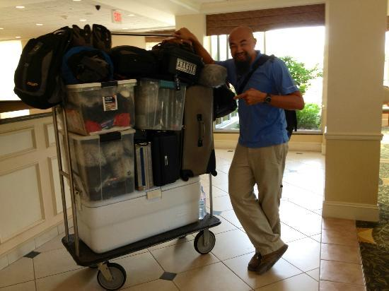Hilton Garden Inn Tampa / Riverview / Brandon: All of our sound recording gear fit on two carts! :-)