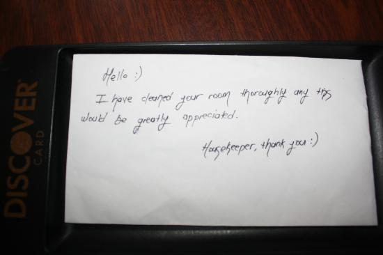 Tallwood Motel : note from housekeeping