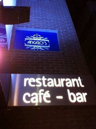 Angelo's Restaurant: Entrance Signage by Night