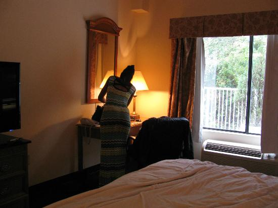 Best Western Magnolia Inn and Suites: Trees outside the window, pool to the left