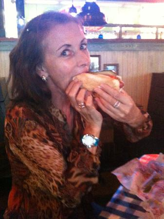 Portillo's Hot Dogs: Enjoying a hot dog