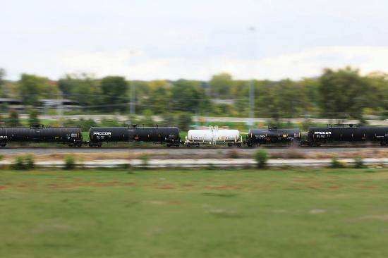 Hyatt Place Columbus/OSU: Zoom shot of a commercial train.  (Commuter trains were also visible.)
