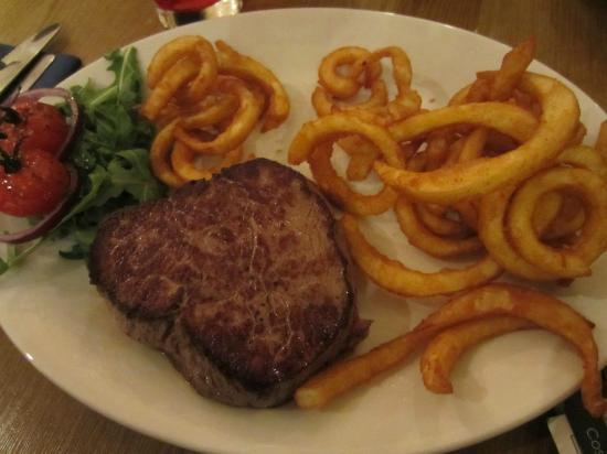 The McKirdy's Steakhouse: Fillet steak with curly fries