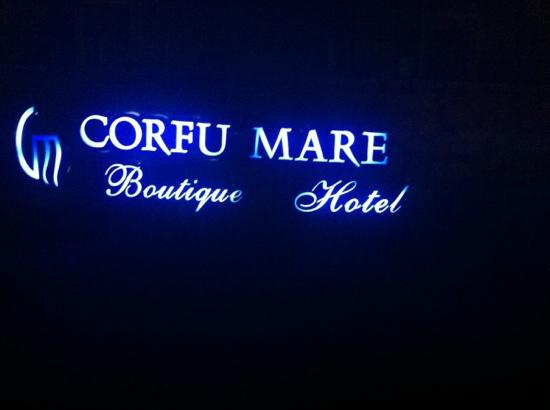 Corfu Mare Boutique Hotel: hotel sign at night
